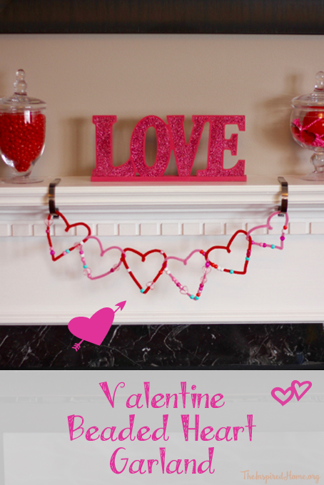 Valentine Beaded Heart Garland Tutorial from The Inspired Home