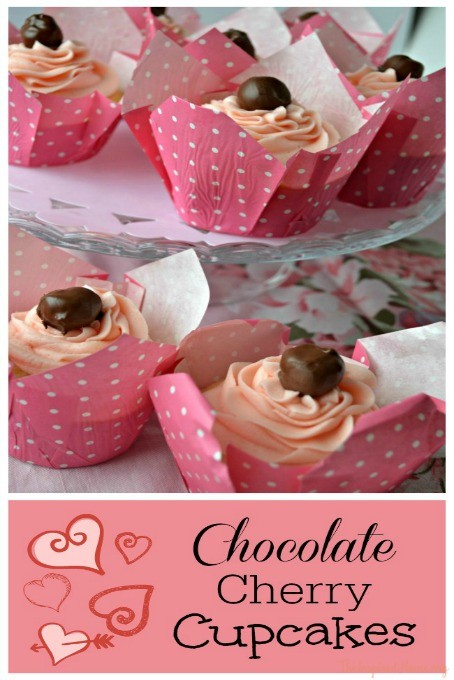 Valentine's Day Chocolate Cherry Cupcakes