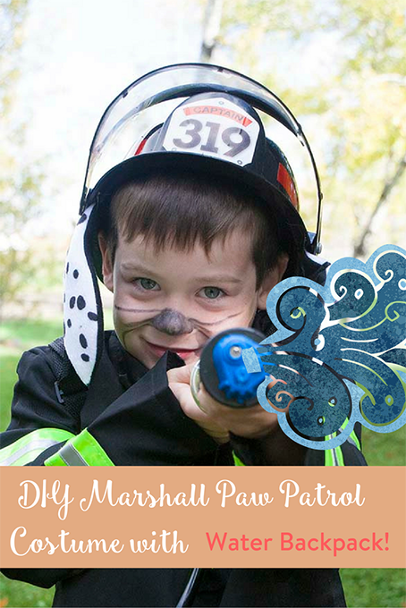 TheInspiredHome.org // DIY Marshall from Paw Patrol Costume with Water Squirter.