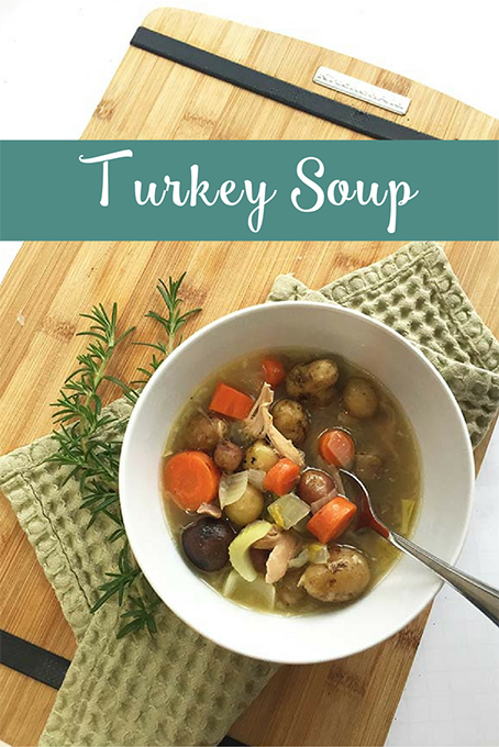 TheInspiredHome.org // Homemade Turkey Soup. Use up your turkey leftovers with this simple homemade turkey soup recipe. It freezes great for your next fall or winter meal!