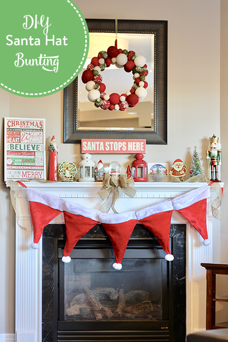 TheInspiredHome.org // DIY Santa Hat Bunting - a simple sewing project perfect for a beginner. Using dollar store santa hats, you can whip up this beautiful bunting in no time!