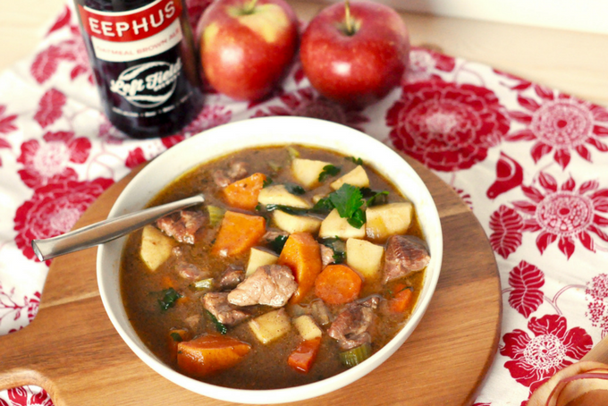 TheInspiredHome.org // A nostalgic pork stew recipe complete with beer braised pork, root vegetables and apples for an easy weeknight dinner. The pork really melts in your mouth!