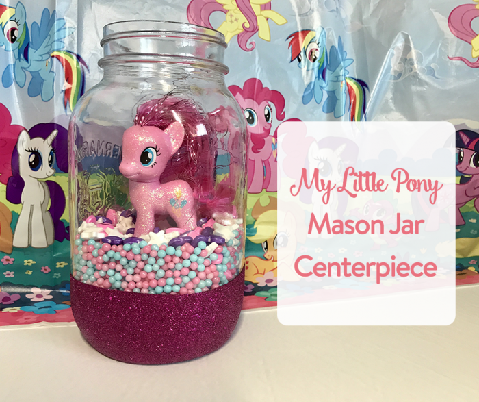 TheInspiredHome.org // Whip up this adorable My Little Pony mason jar centerpiece for your next birthday party or pony-related event. All you need are some sprinkles & a pony!